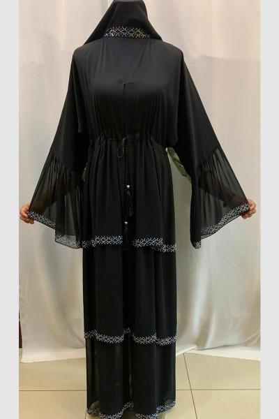 (3 Pieces Set) Frock Abaya