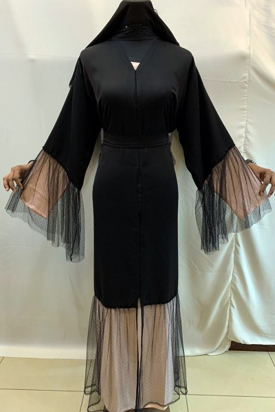 (3 Pieces Set) Net Design Abaya