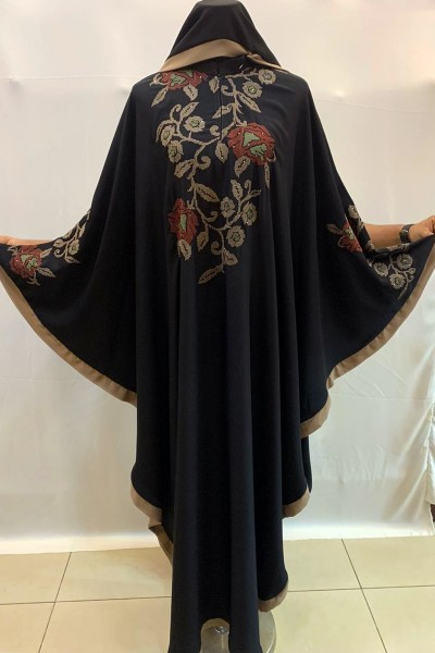 (3 Pieces Set) Embroidered Abaya