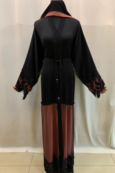 (3 Pieces Set) Appliques Abaya