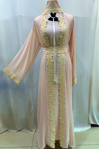 (3 Pieces Set) Cream Lace Abaya