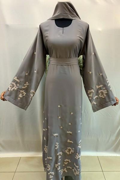 (3 Pieces Set) Floral Abaya