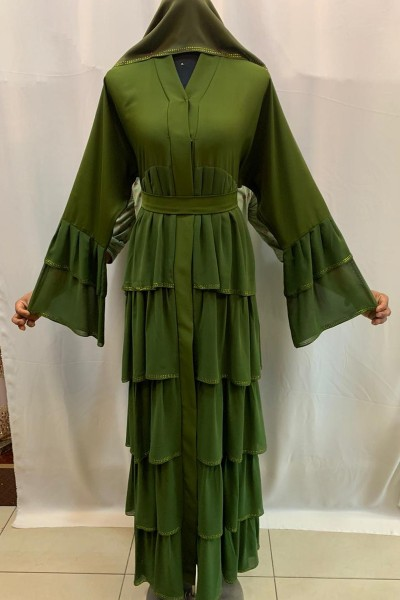 (3 Pieces Set) Flare Abaya