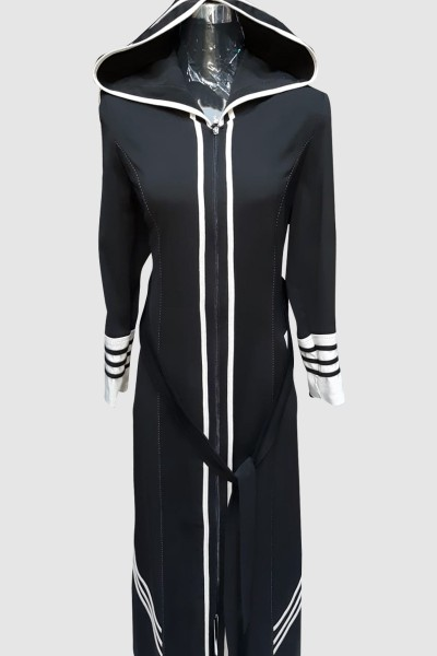 (3 Pieces Set) Hoodie Abaya Coat