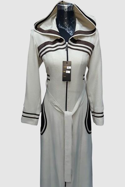 (3 Pieces Set) Contrast Abaya Coat