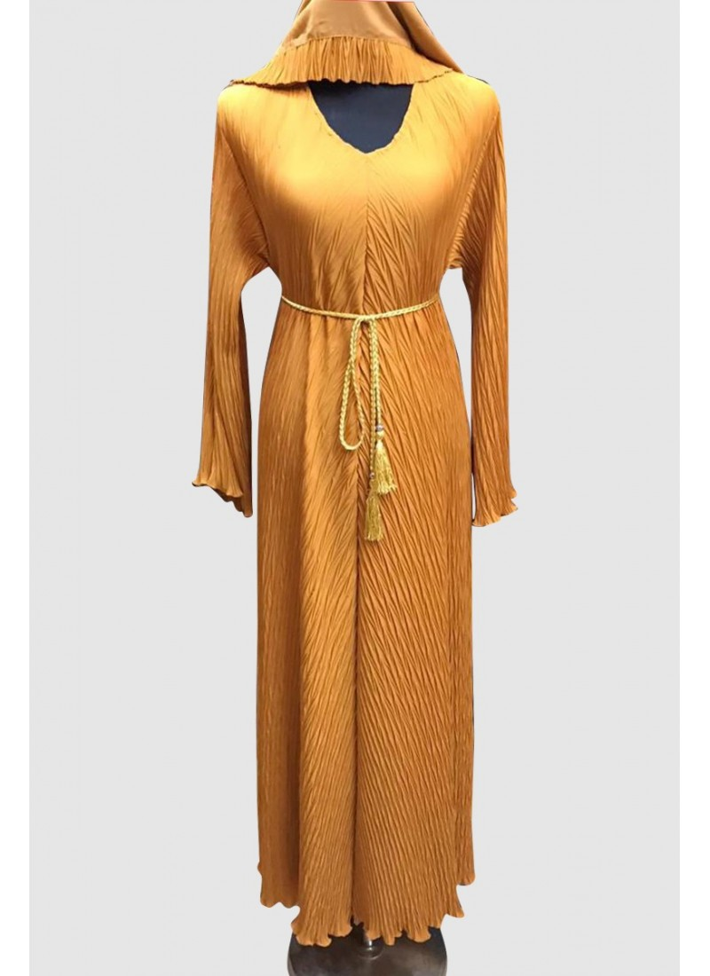 Pleated Designer Abaya (3 Pieces Set)