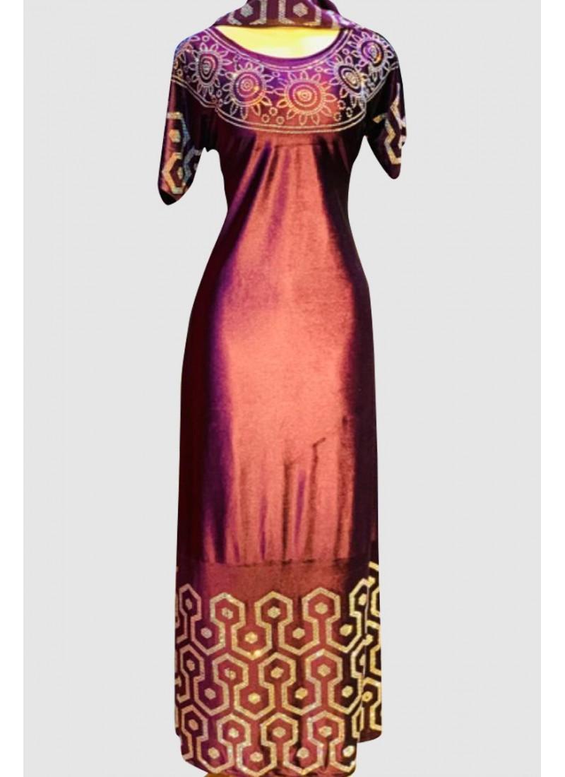 Velvet Short Sleeve Abaya (3 Pieces Set)