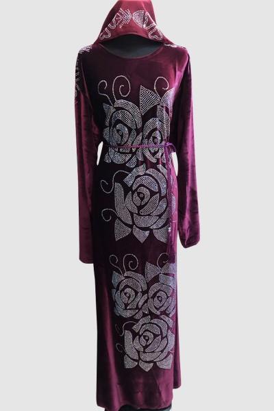 Mesh Detail Velvet Abaya