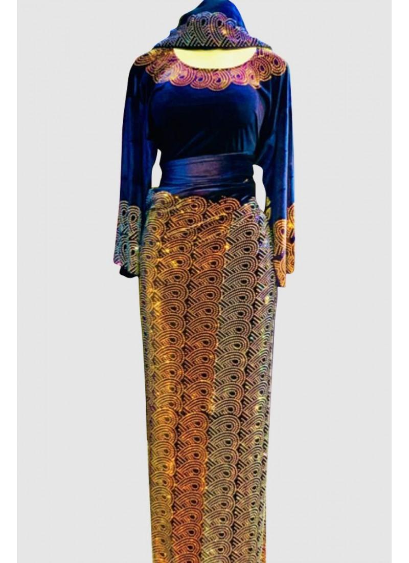Fustany Crystal Velvet Abaya