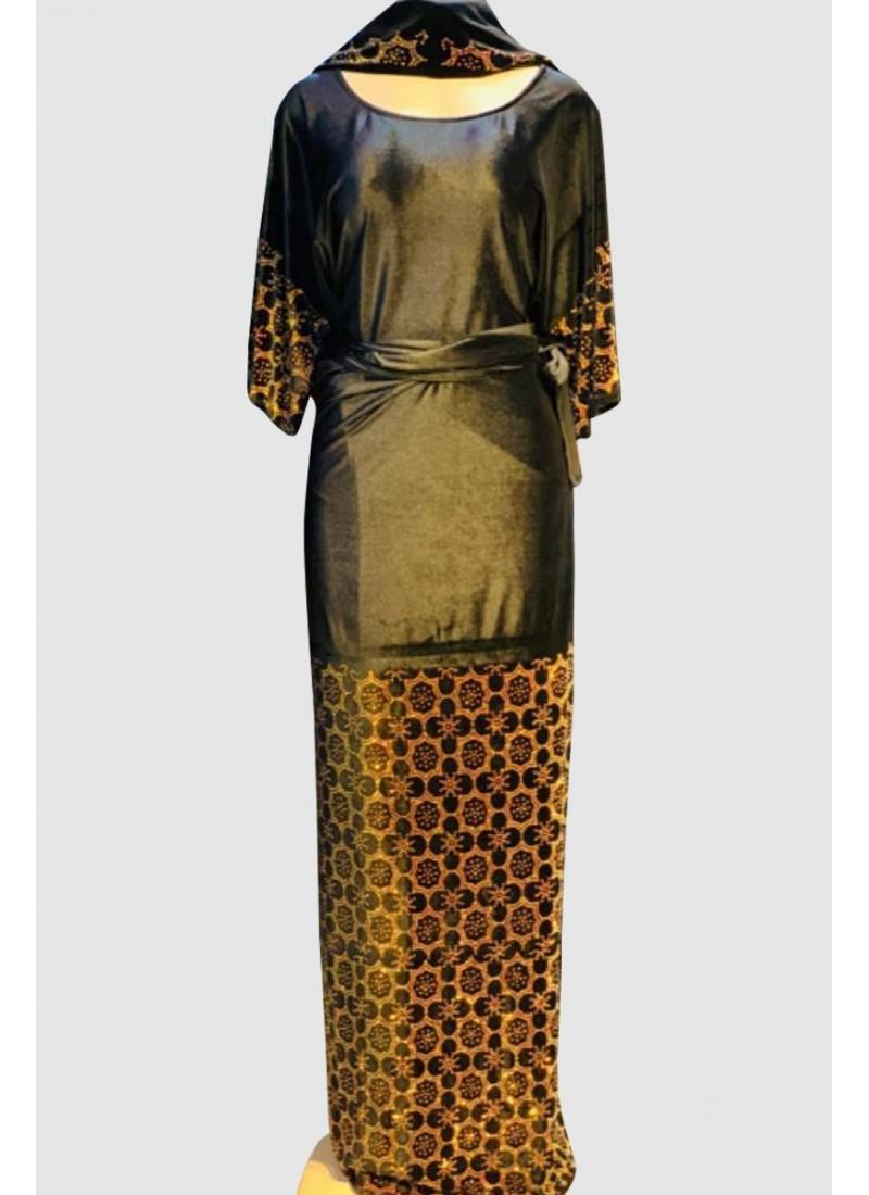 Black Velvet Fancy Abaya