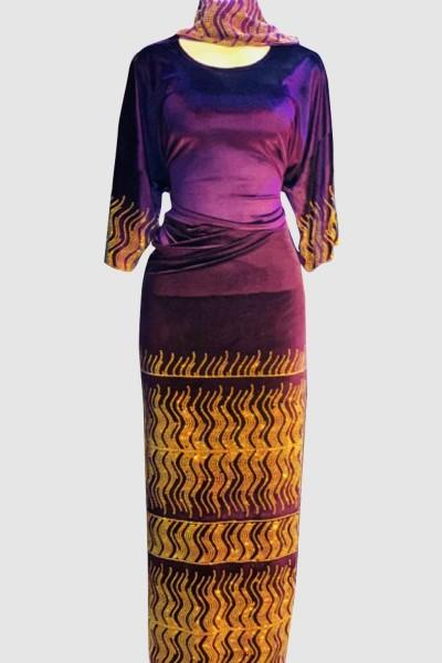 Velvet Shinning Stone Abaya