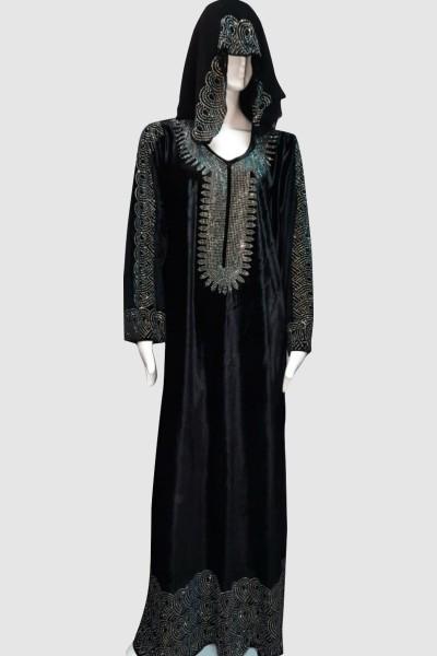 Hana Velvet Crystal Abaya (3 Pieces Set)