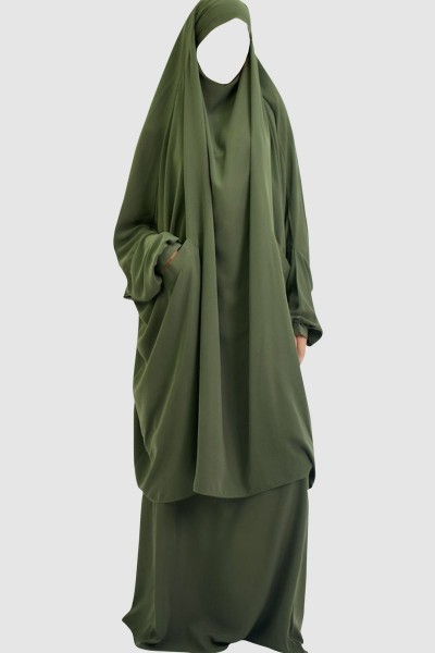 Side Pockets Pray Abaya (6 Pieces Set)