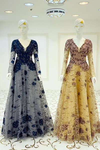 Applique Beads Gown (3 Pieces Set)