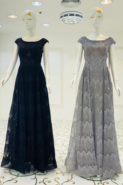 Sparkle O Neck Gown (3 Pieces Set)