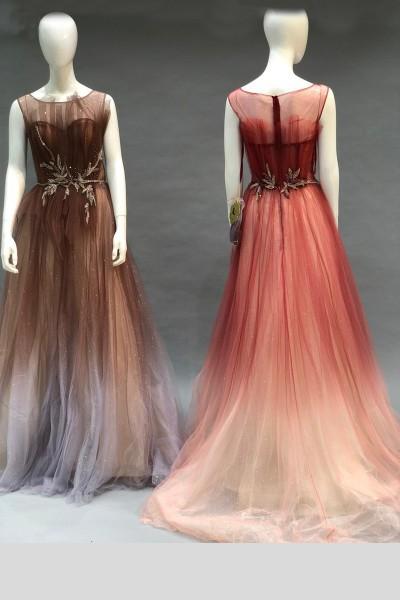 Contrast Party Gown (3 Pieces Set)