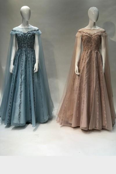Asymmetric Party Gown (3 Pieces Set)