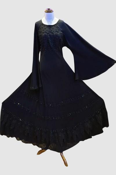 Modern Black Abaya (6 Pieces Set)