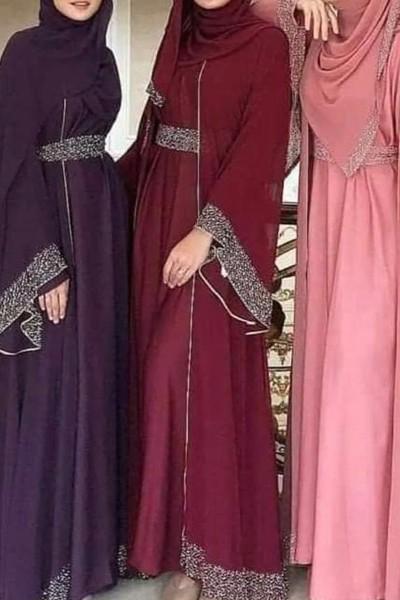 (3 Pieces Set) Crystal Abaya