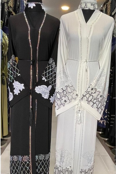 (3 Pieces Set) Net And Stone Embroidery