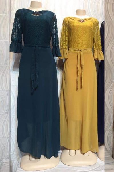 Modest Fancy Net Casual Dress