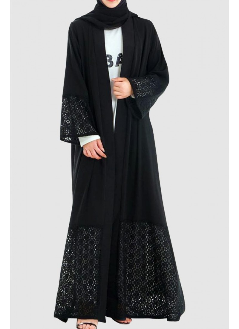 Modest Lace Open Abaya