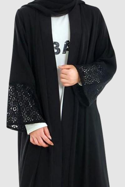 Modest Lace Open Abaya