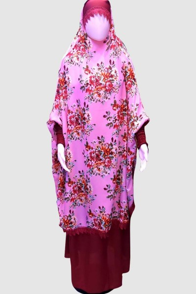 Classy Print Pray Abaya (6 Pieces Set)