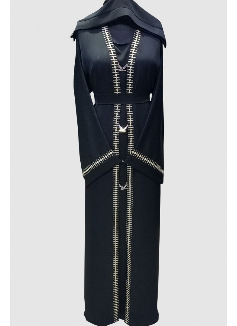 Buckle And Lace Abaya