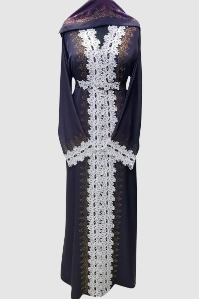 Abaya With Crystal And Lace