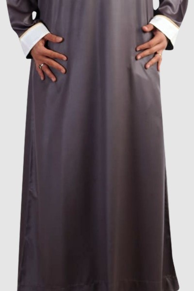Dishdasha With Contrast Accents (3 Pieces Set)